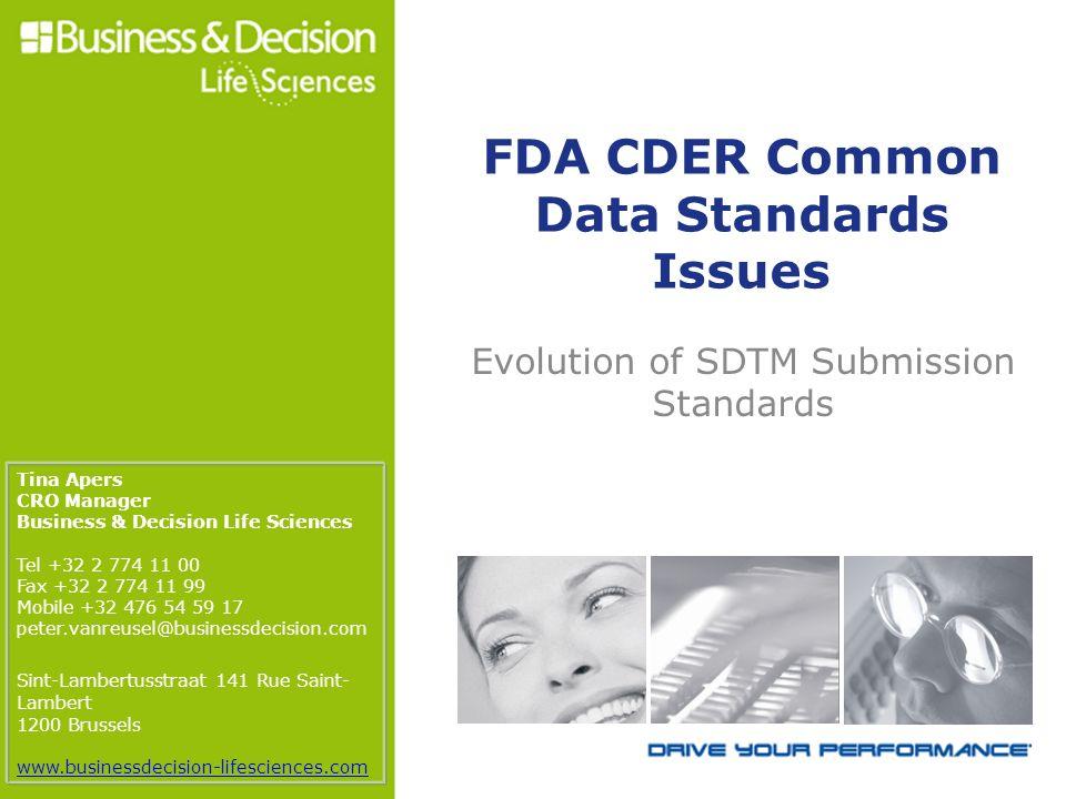 FDA CDER Common Data Standards Issues