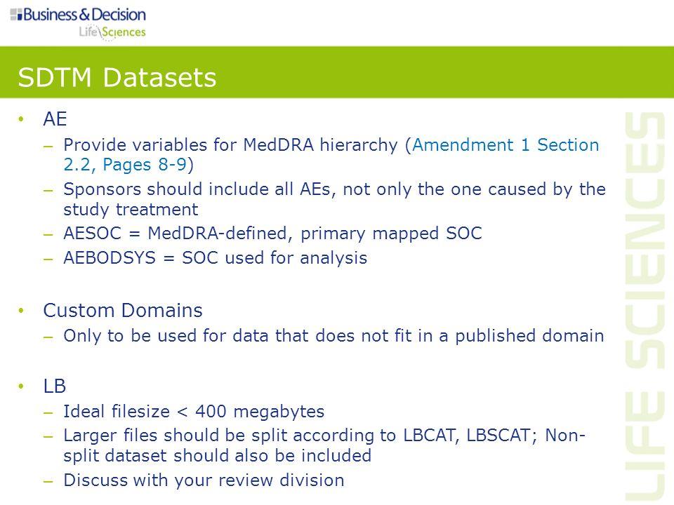 SDTM Datasets AE Custom Domains LB