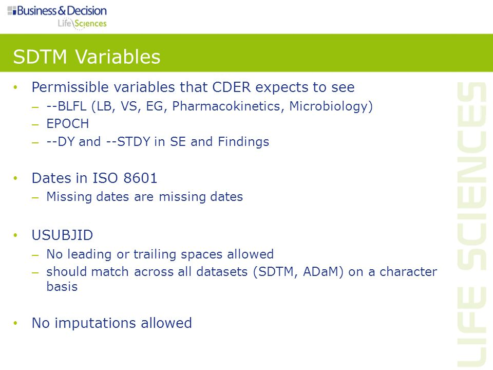 SDTM Variables Permissible variables that CDER expects to see