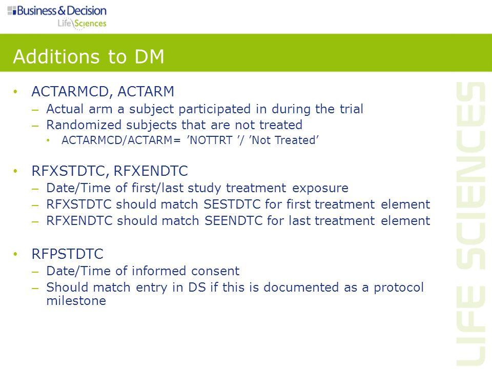 Additions to DM ACTARMCD, ACTARM RFXSTDTC, RFXENDTC RFPSTDTC