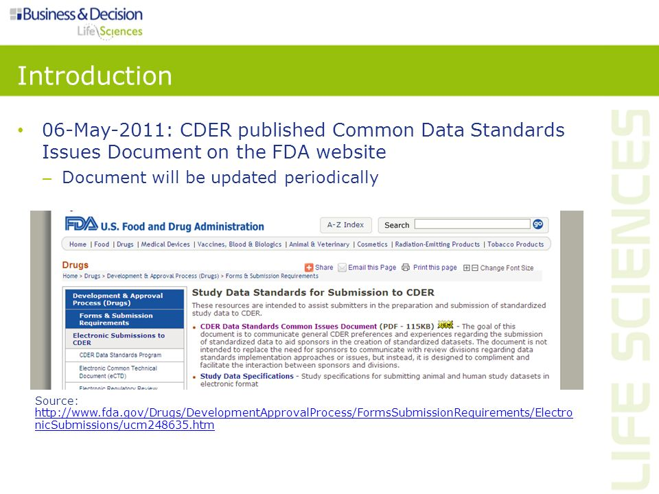 Introduction 06-May-2011: CDER published Common Data Standards Issues Document on the FDA website. Document will be updated periodically.