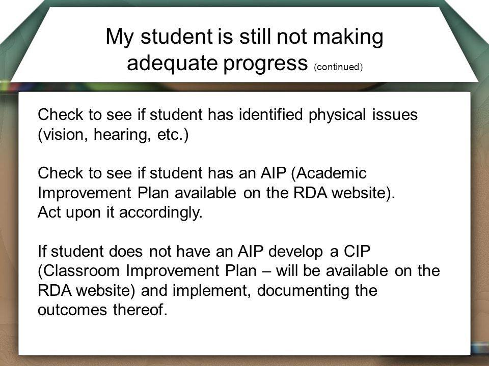 My student is still not making adequate progress (continued)