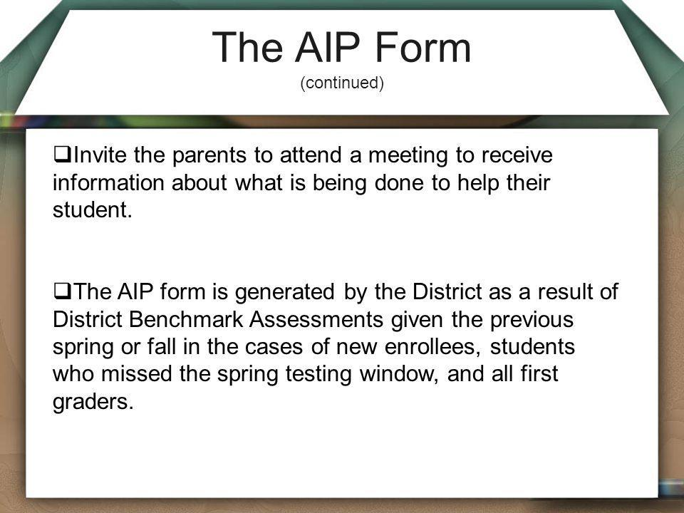 The AIP Form (continued)