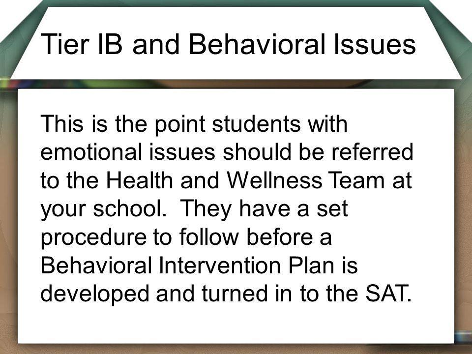 Tier IB and Behavioral Issues