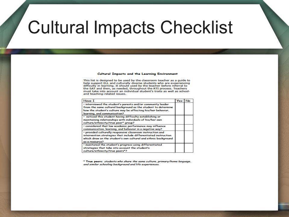 Cultural Impacts Checklist