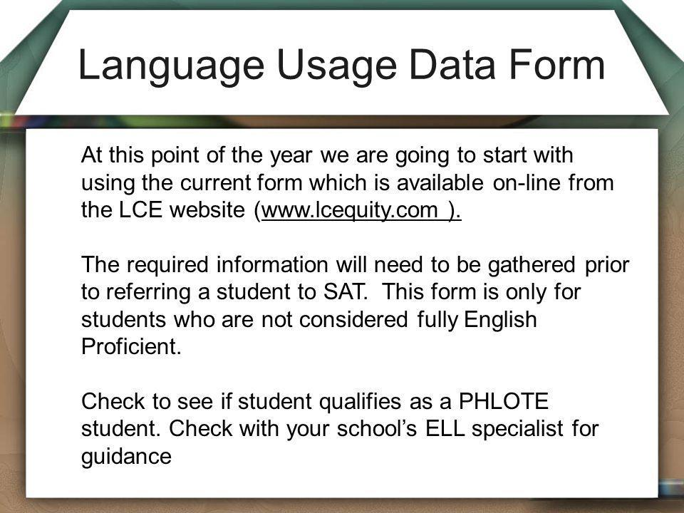 Language Usage Data Form