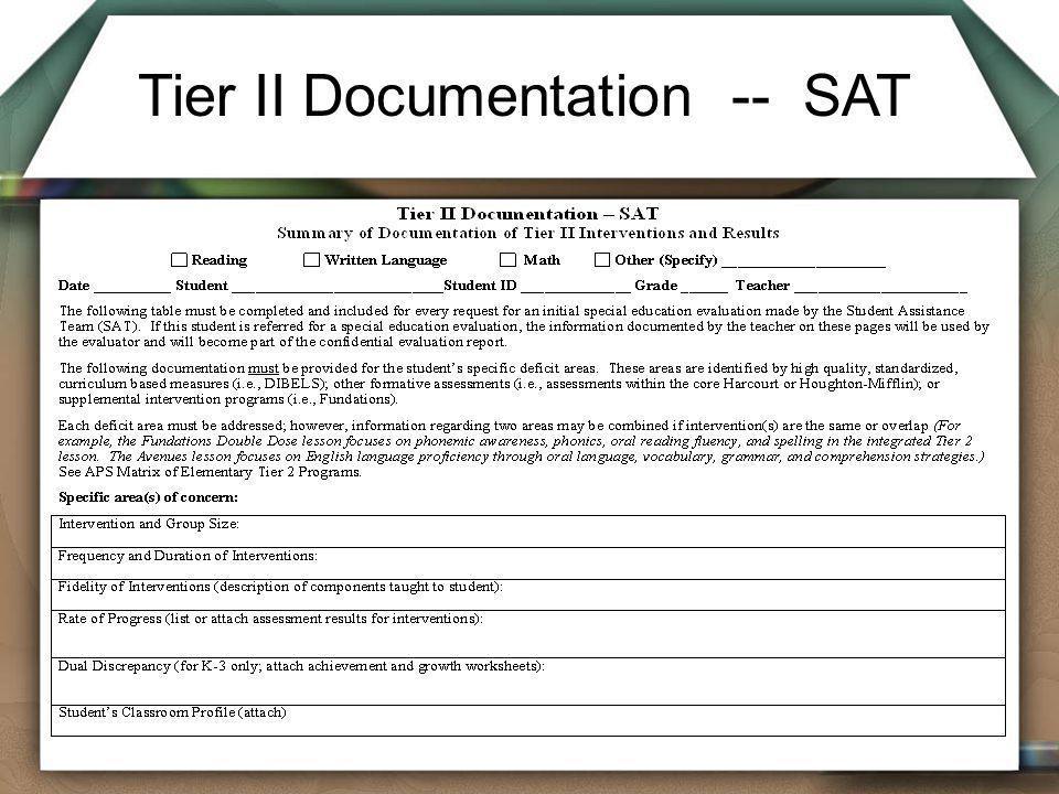 Tier II Documentation -- SAT