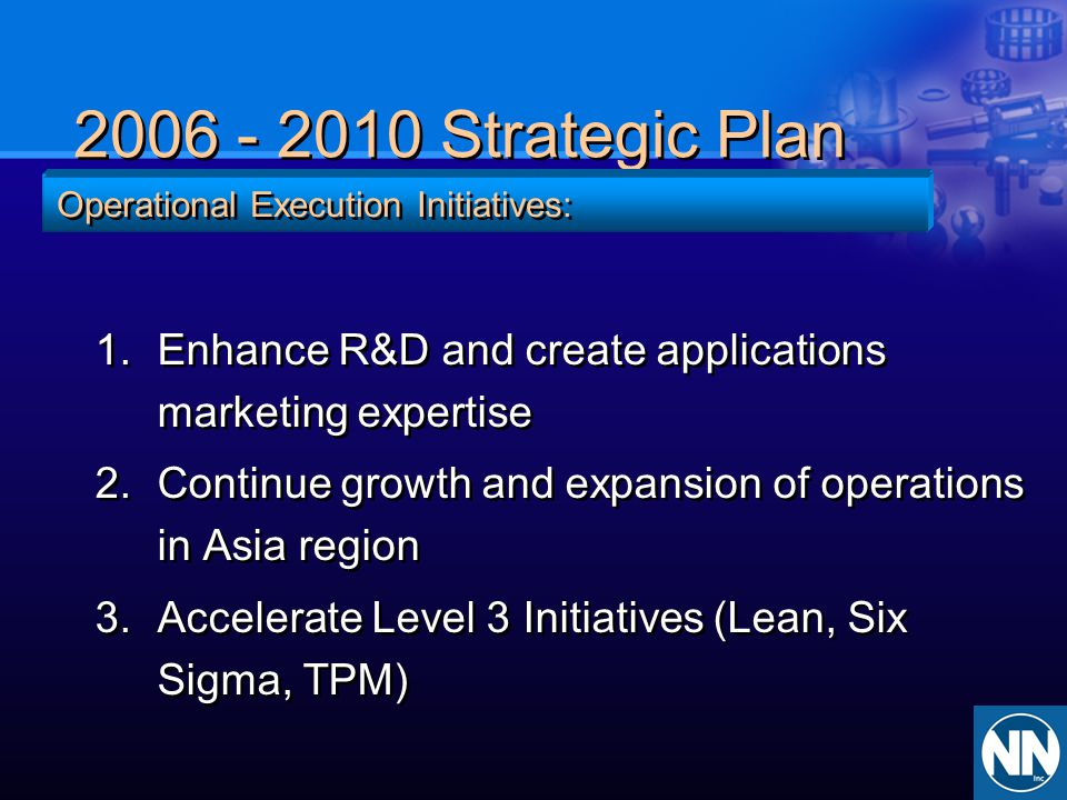 2006 - 2010 Strategic Plan Operational Execution Initiatives: Enhance R&D and create applications marketing expertise.