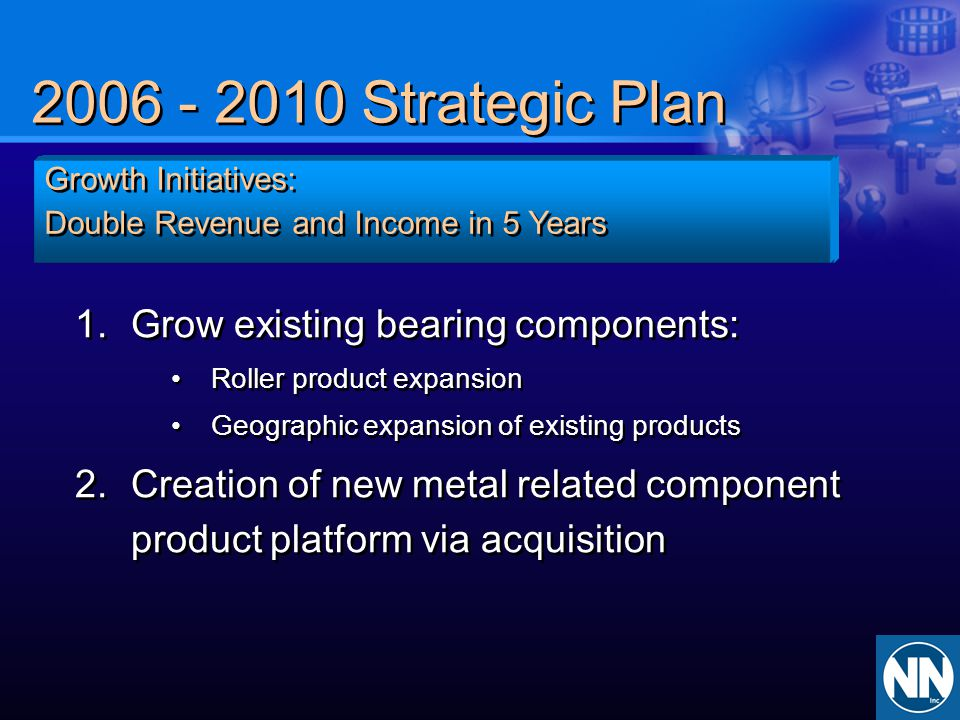 Strategic Plan Grow existing bearing components: