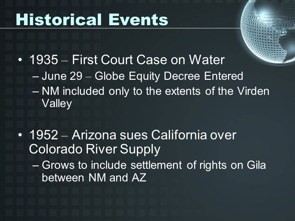 Historical Events 1935 – First Court Case on Water