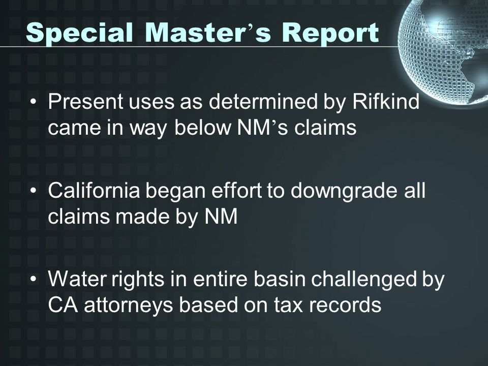 Special Master's Report
