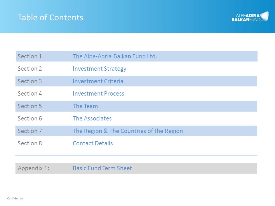 Table of Contents Section 1 The Alpe-Adria Balkan Fund Ltd.