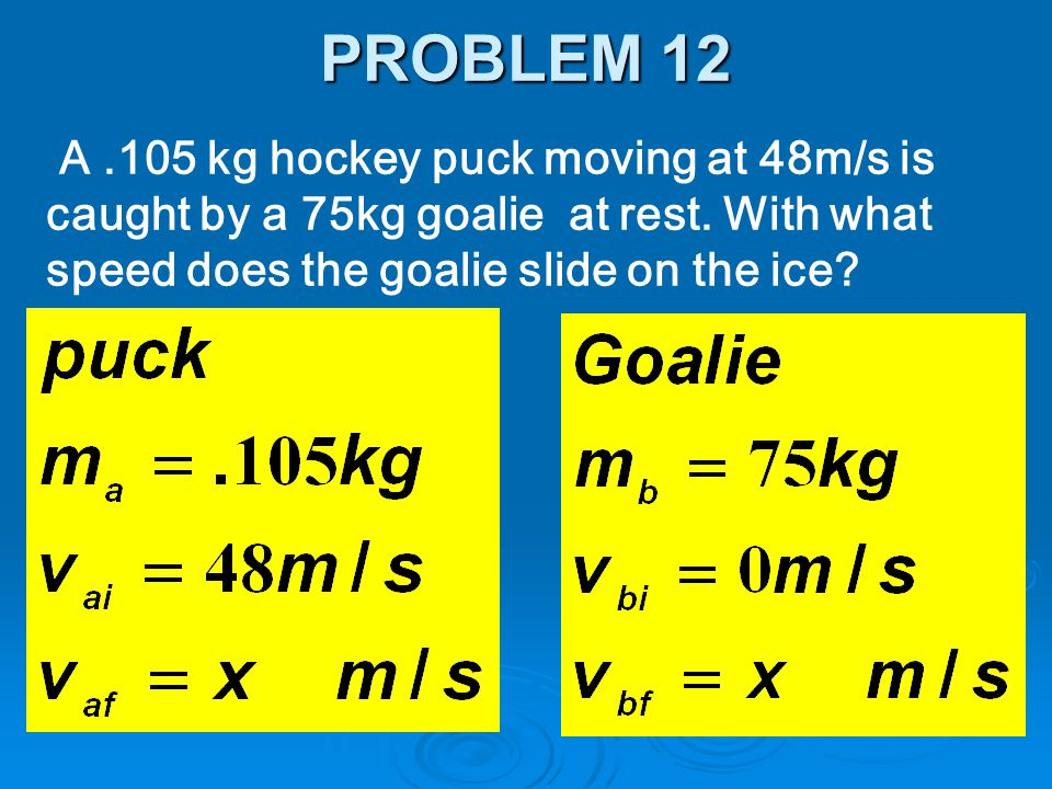 PROBLEM 12 A .105 kg hockey puck moving at 48m/s is caught by a 75kg goalie at rest.