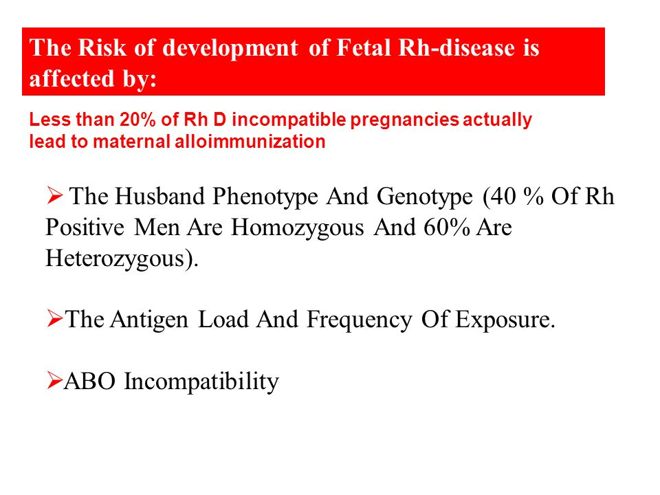 The Risk of development of Fetal Rh-disease is affected by: