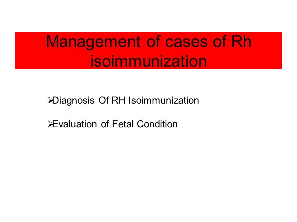 Management of cases of Rh isoimmunization