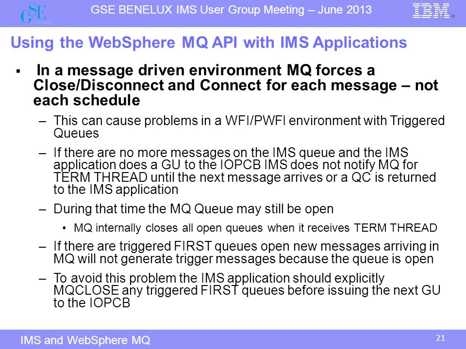 Using the WebSphere MQ API with IMS Applications