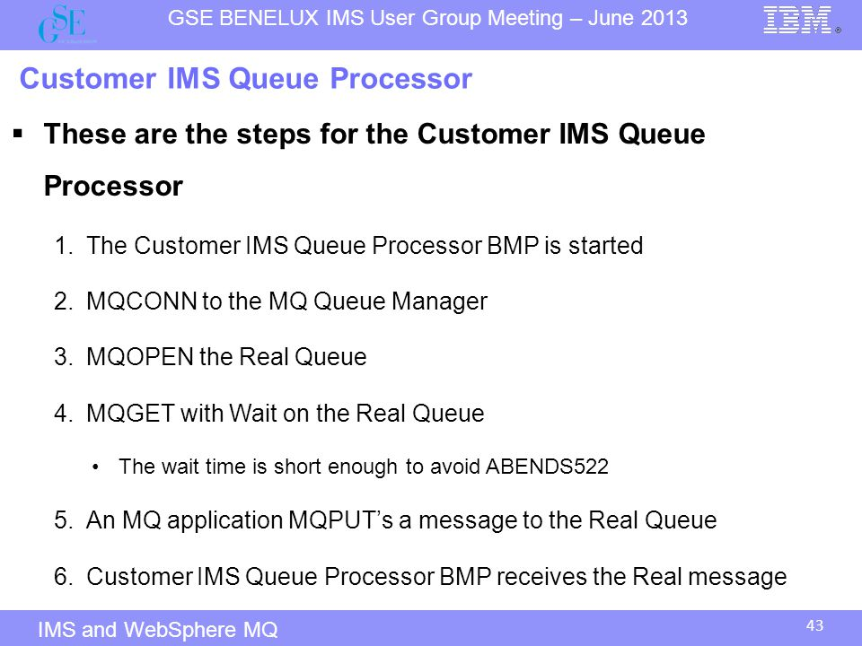 Customer IMS Queue Processor