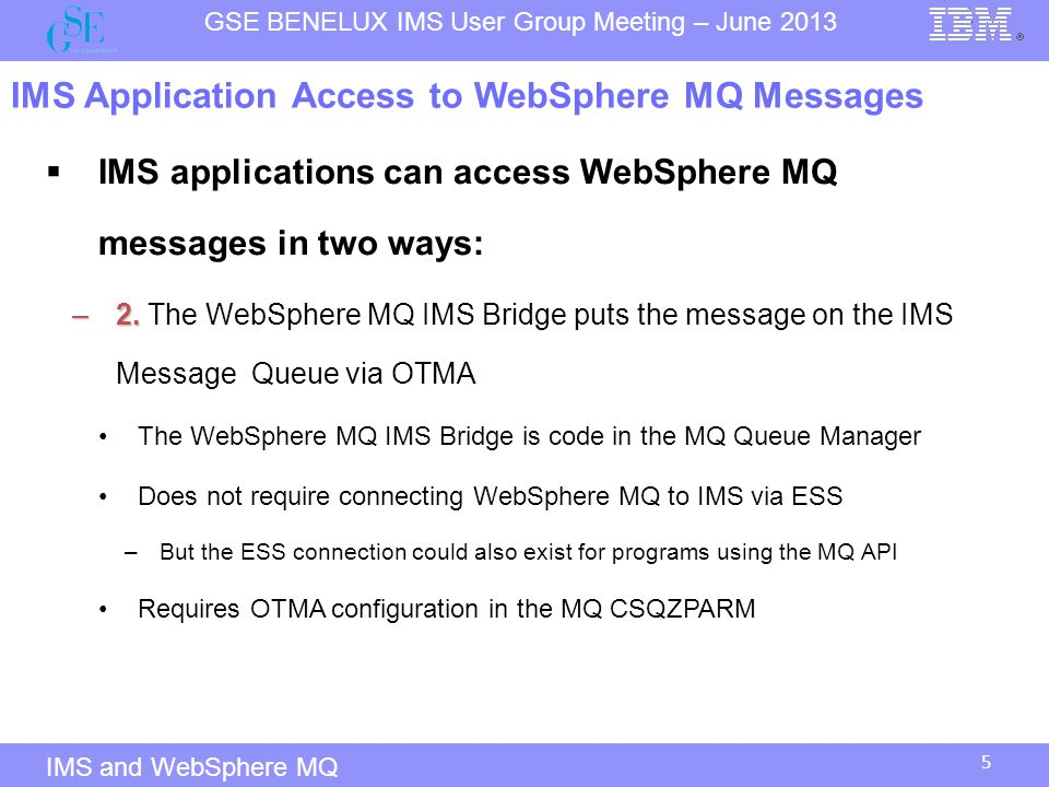 IMS Application Access to WebSphere MQ Messages