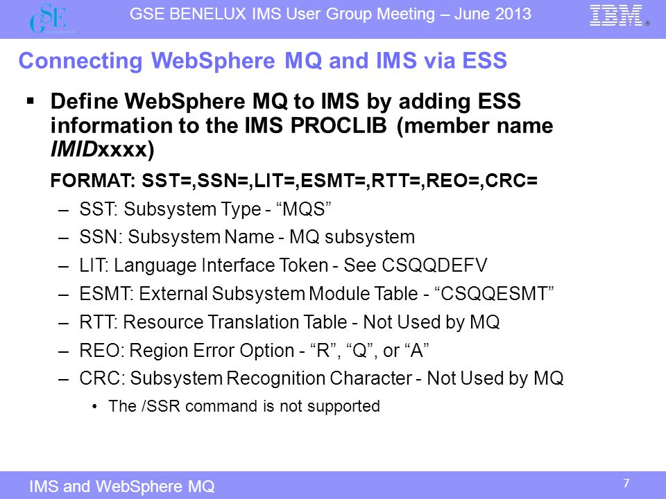 Connecting WebSphere MQ and IMS via ESS