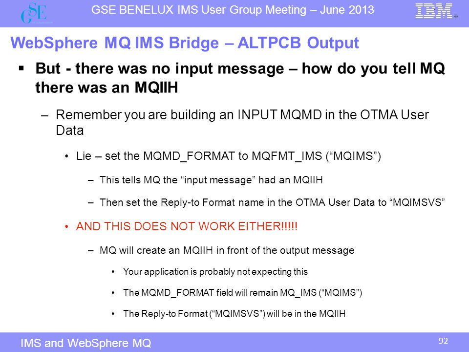 WebSphere MQ IMS Bridge – ALTPCB Output