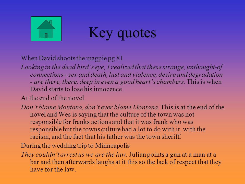 Key quotes When David shoots the magpie pg 81