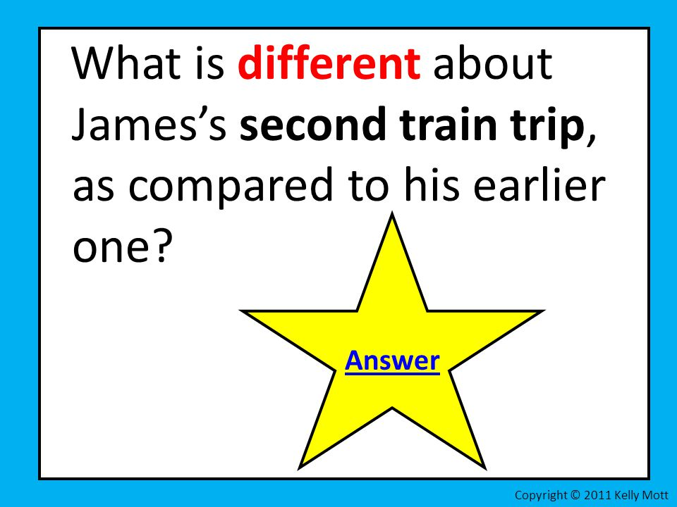 What is different about James's second train trip, as compared to his earlier one