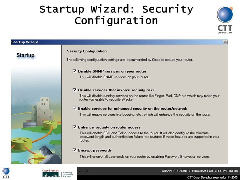 Startup Wizard: Security Configuration