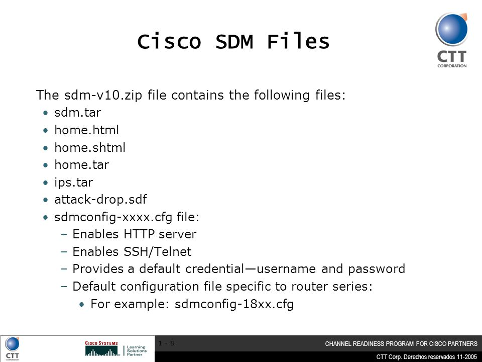 Cisco SDM Files The sdm-v10.zip file contains the following files: