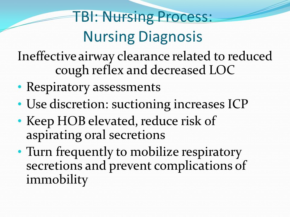 TBI: Nursing Process: Nursing Diagnosis