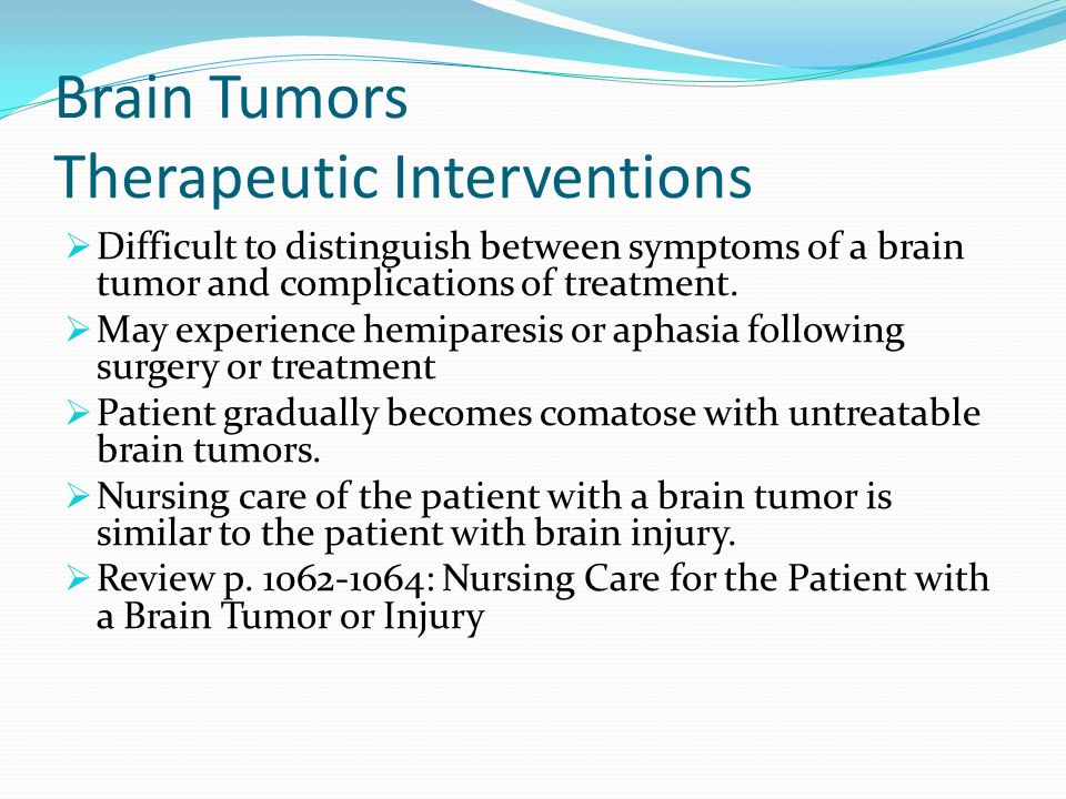 Brain Tumors Therapeutic Interventions