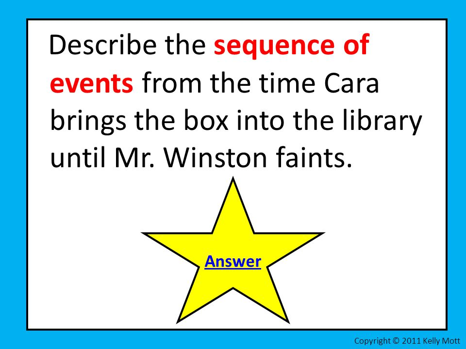 Describe the sequence of events from the time Cara brings the box into the library until Mr. Winston faints.