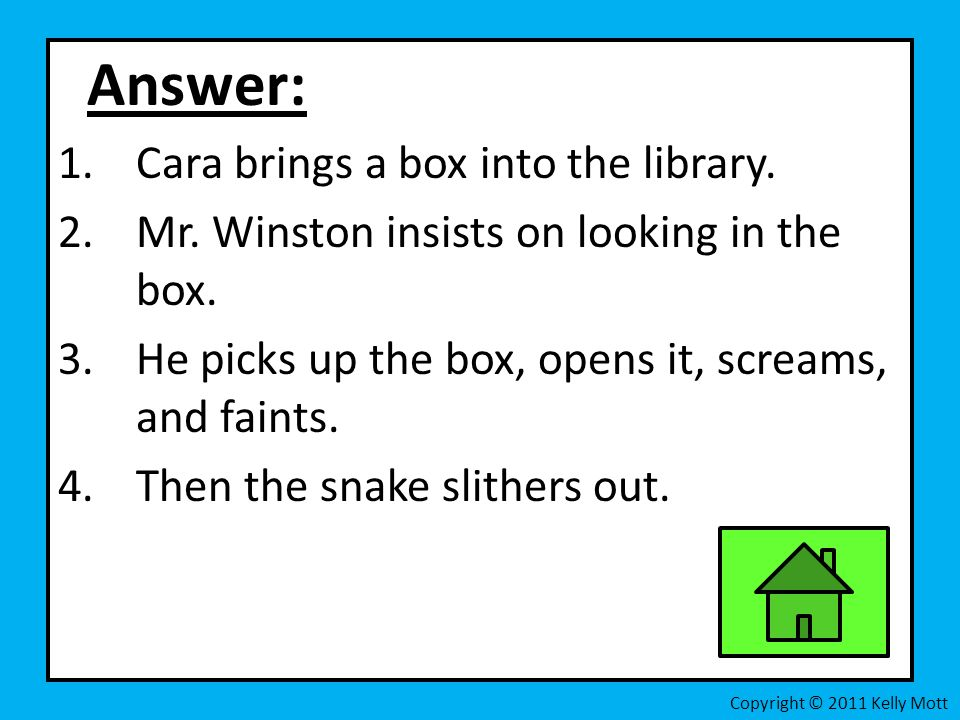 Answer: Cara brings a box into the library.