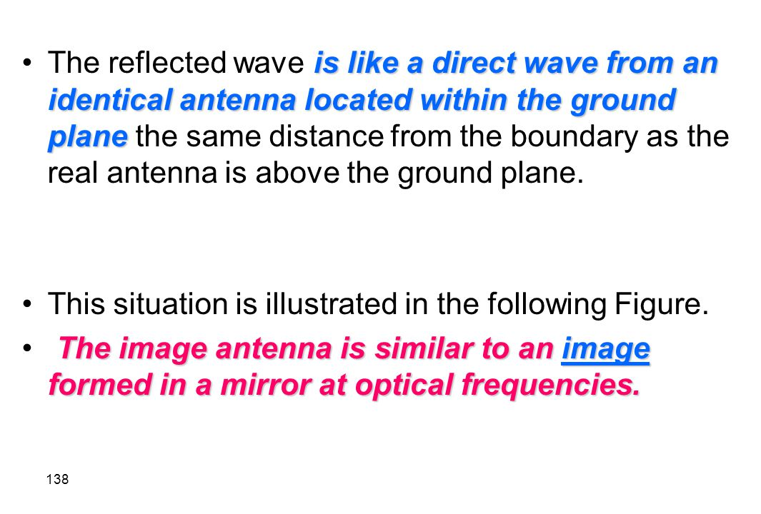 The reflected wave is like a direct wave from an identical antenna located within the ground plane the same distance from the boundary as the real antenna is above the ground plane.