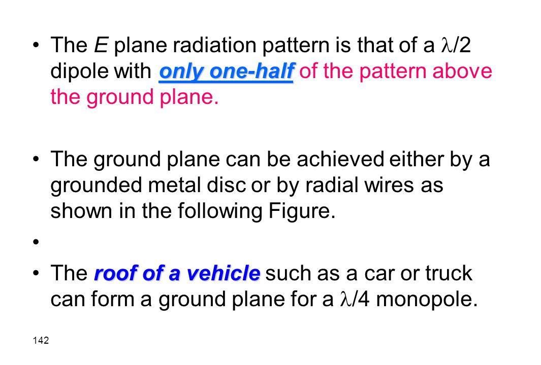 The E plane radiation pattern is that of a /2 dipole with only one-half of the pattern above the ground plane.