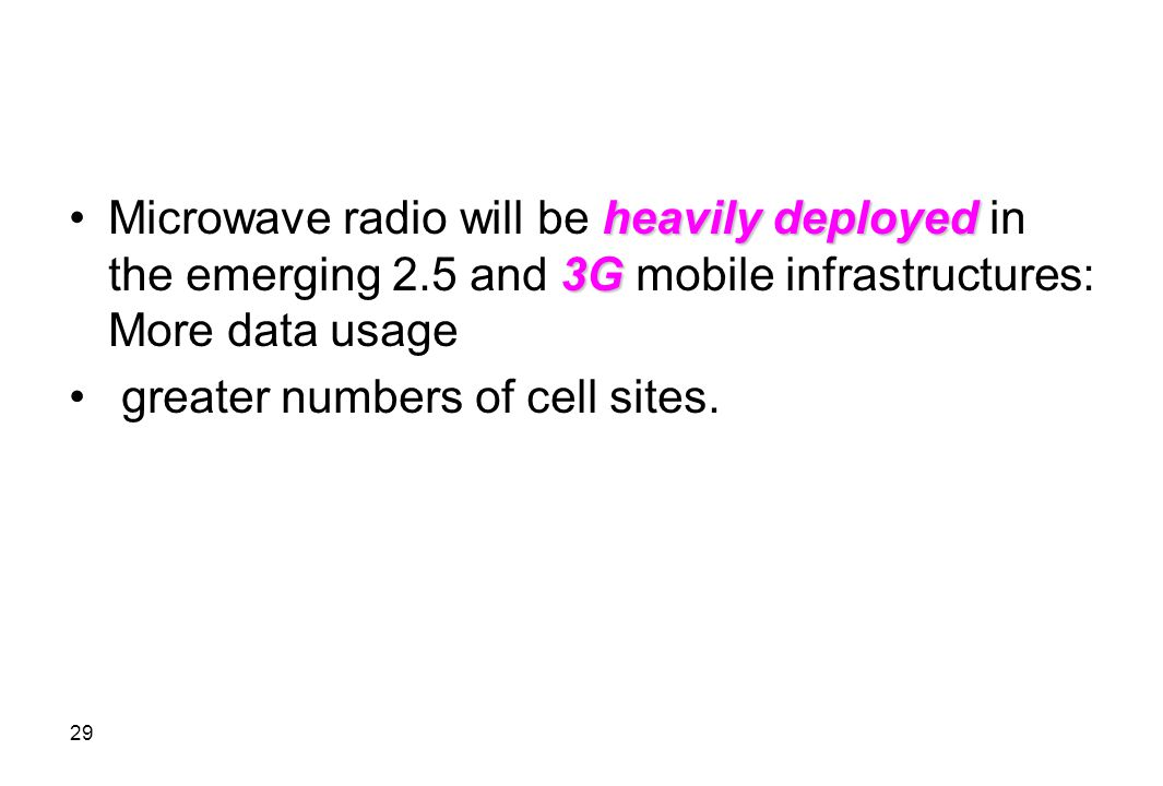 Microwave radio will be heavily deployed in the emerging 2