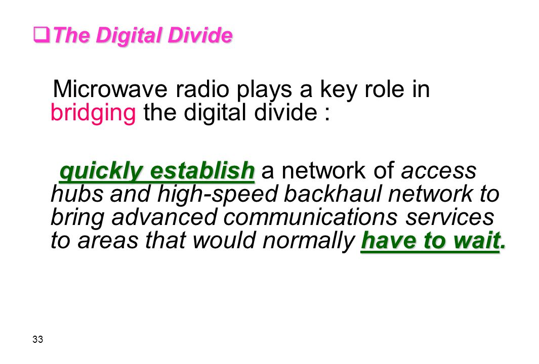 The Digital Divide Microwave radio plays a key role in bridging the digital divide :