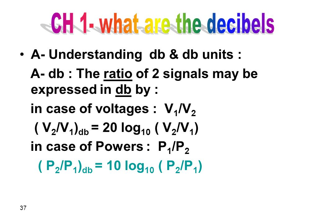 CH 1- what are the decibels