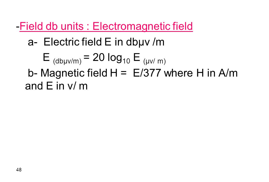 -Field db units : Electromagnetic field