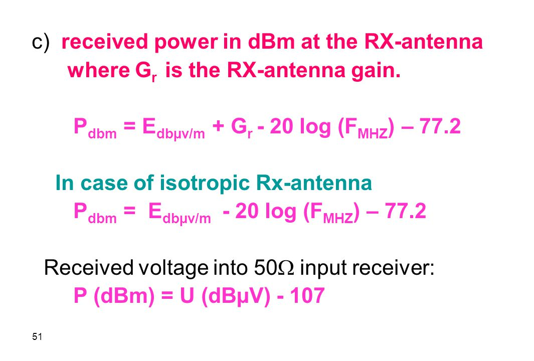 c) received power in dBm at the RX-antenna