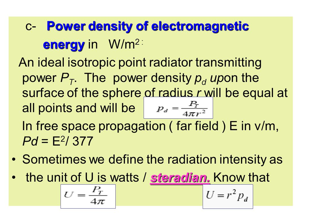 c- Power density of electromagnetic