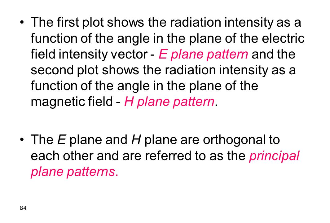 The first plot shows the radiation intensity as a function of the angle in the plane of the electric field intensity vector - E plane pattern and the second plot shows the radiation intensity as a function of the angle in the plane of the magnetic field - H plane pattern.