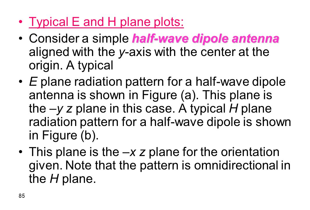 Typical E and H plane plots: