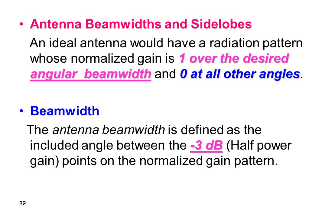 Antenna Beamwidths and Sidelobes