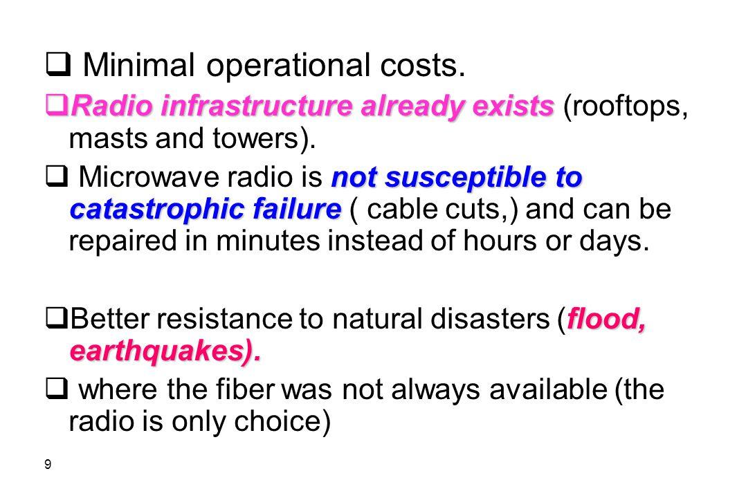 Minimal operational costs.