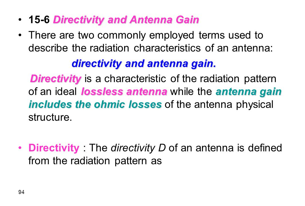 15-6 Directivity and Antenna Gain