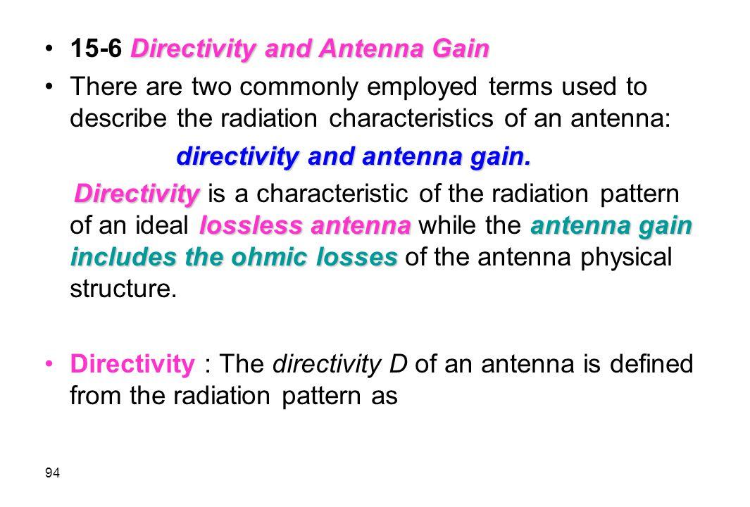 15-6 Directivity and Antenna Gain