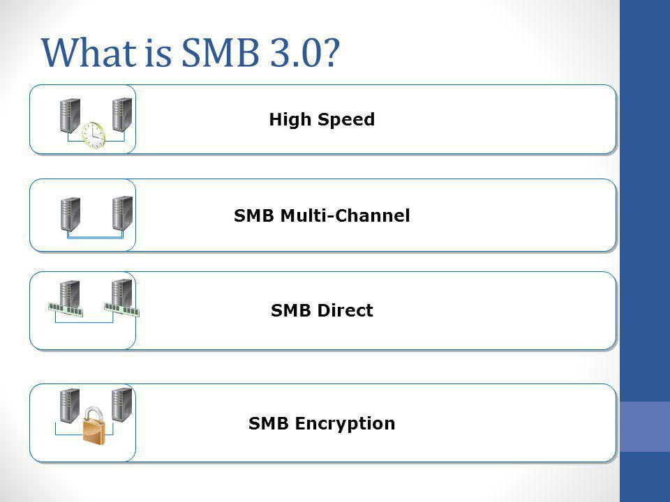 What is SMB 3.0 High Speed SMB Multi-Channel SMB Direct