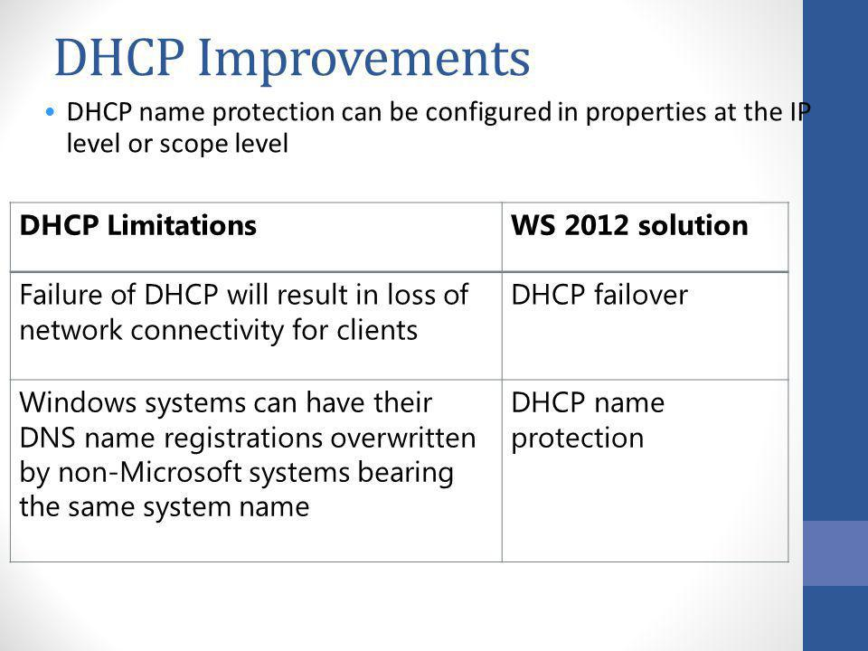 40005B DHCP Improvements. 2: Storage and Networking in Windows Server 2012.