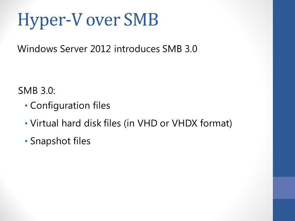 Hyper-V over SMB Windows Server 2012 introduces SMB 3.0 SMB 3.0: