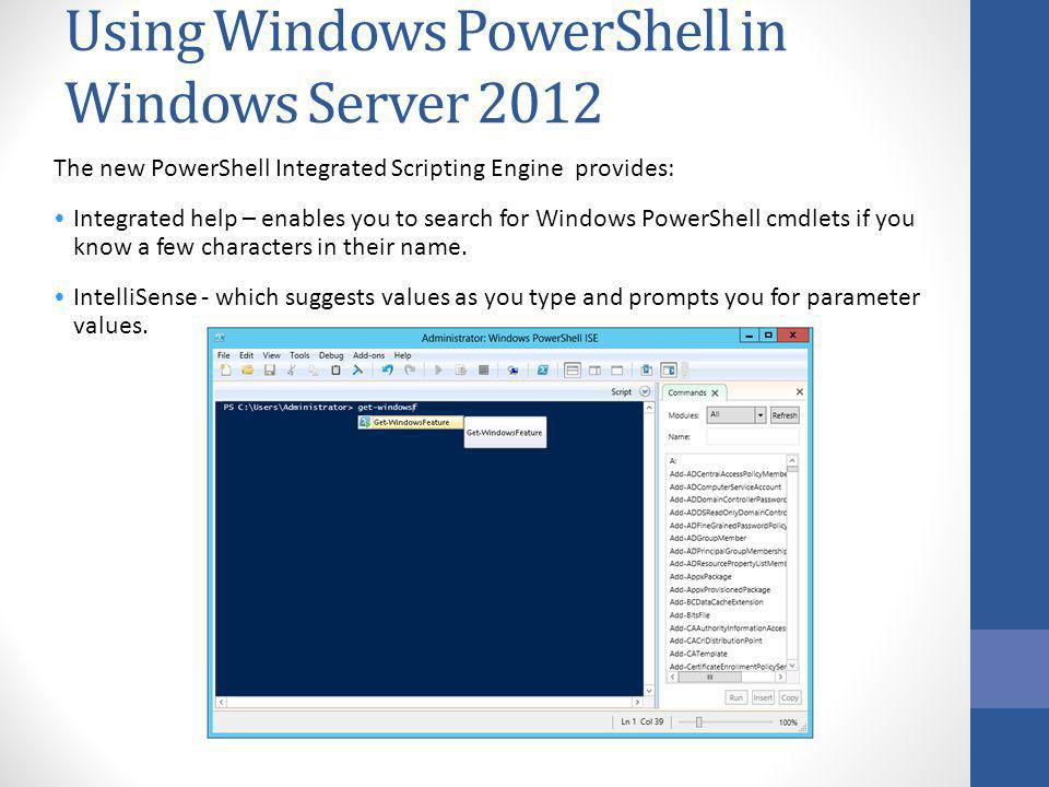 Using Windows PowerShell in Windows Server 2012